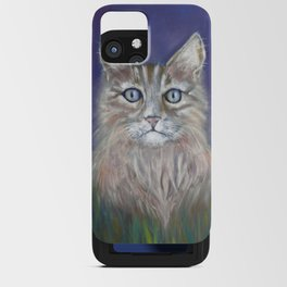 CUTE YOUNG TABBY CAT GREY BEIGE CHALK PASTEL DRAWING iPhone Card Case