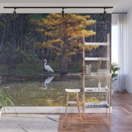 Great White Egret in Autumn Wall Mural