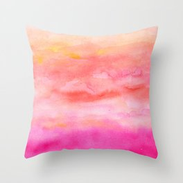 Bright pink orange sunset watercolor hand painted Throw Pillow