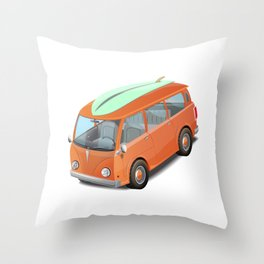 Retro bus with a surfboard. Throw Pillow