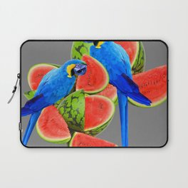 TWO BLUE MACAWS IN WATERMELON ABSTRACT GREY ART Laptop Sleeve