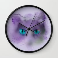 cheshire cat Wall Clocks featuring Cheshire Cat by Rowena Leavy