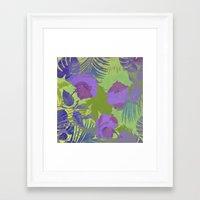 hawaiian Framed Art Prints featuring Hawaiian Purple by ALLY COXON