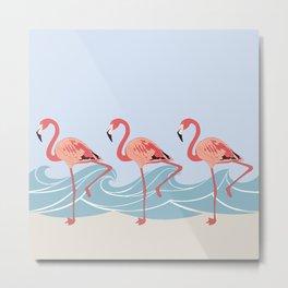 Seaside Flamingos Metal Print