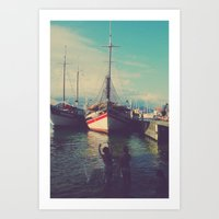 Boat and childrens Art Print