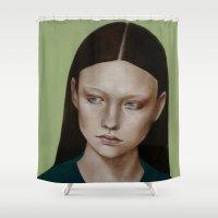 dahlia Shower Curtains featuring Dahlia by Kalynn Burke