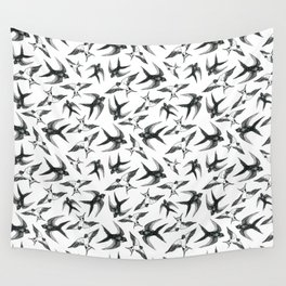 Swooping Swallows in Black & White Wall Tapestry