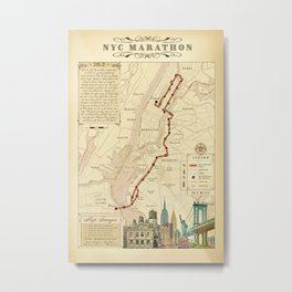 New York City Vintage {Marathon Course Map} 26.2 Metal Print