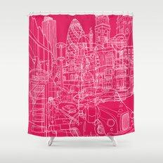 London! Hot Pink Shower Curtain