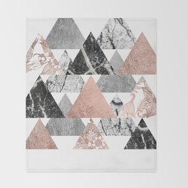 Marble Rose Gold Silver and Floral Geo Triangles Throw Blanket