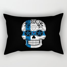Sugar Skull with Roses and Flag of Finland Rectangular Pillow