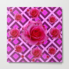 Burgundy Purple Fuchsia Pink Roses  Patterns Metal Print