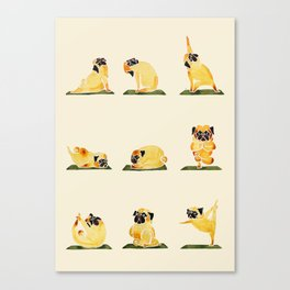 Pug Yoga Watercolor Canvas Print