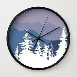 Mountain Sunrise Blue Hues Wall Clock