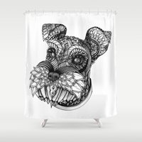 schnauzer Shower Curtains featuring Ornate Schnauzer by Adrian Dominguez
