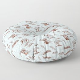 Grizzly Bears Fishing for Salmon (Light Blue and Brown) Floor Pillow