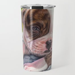 American bulldog puppy colored pencil drawing Travel Mug