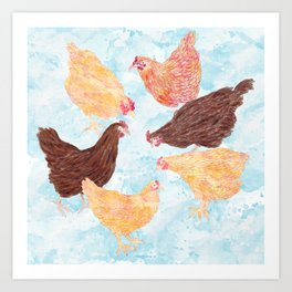 A Gaggle of Hens Art Print
