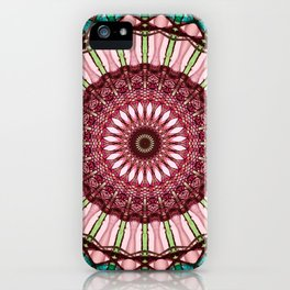 Mandala in red, light and dark green iPhone Case