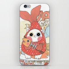 Aqua cat_ Rappa iPhone & iPod Skin