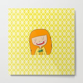 Ananas girl Metal Print