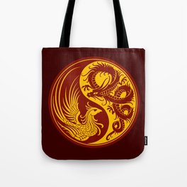 Yellow and Red Dragon Phoenix Yin Yang Tote Bag