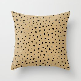Cheetah Spots animal print minimal wild cat speckles and dots Ginger yellow Throw Pillow