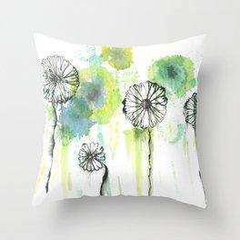 Crazy flowers - green Throw Pillow