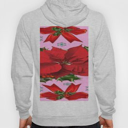POINSETTIA SNOWFLAKES HOLLY HOLIDAY PINK DESIGN Hoody