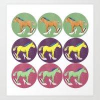 horses Art Prints featuring Horses by Bluetiz