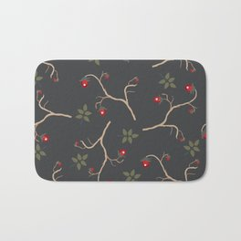 Red berry, Christmas Brier Spray Pattern. Hand drawn, whimsical, traditional style Bath Mat