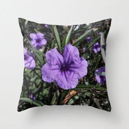 Purple Flower Bloom Throw Pillow