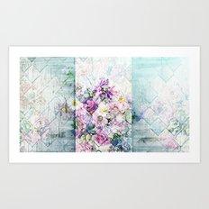 Pastel Daisies Quilt Art Print