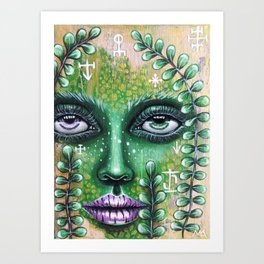 Celtic spirit. Forest fairy. Green portrait Art Print