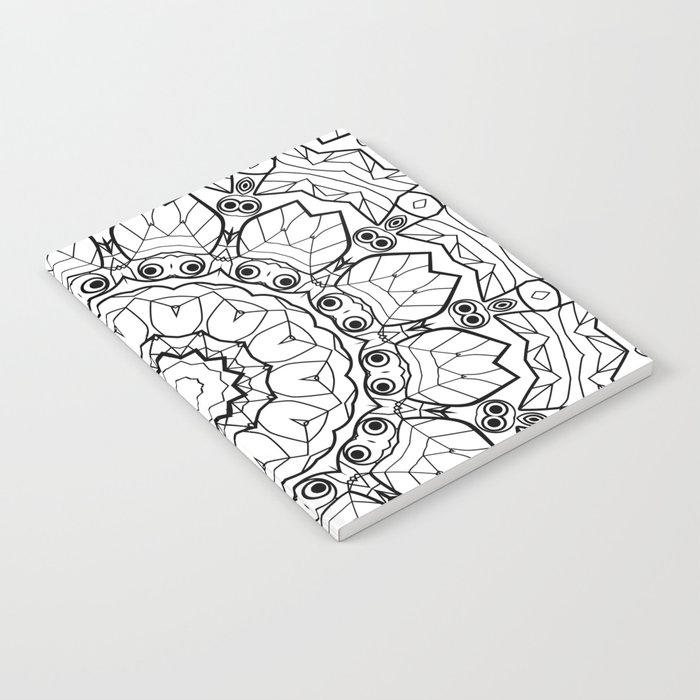 """Black and white pattern . """"Lola"""" Notepad-cover-coloring . Notebook"""