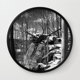 A vertical version of the rocks and trees Wall Clock