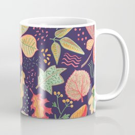 Yellow Leaves On Purple Crayon Drawing, Vibrant Autumn Pattern Coffee Mug