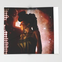 Wonderful steampunk lady Throw Blanket