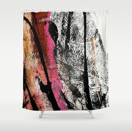 Motivation [2] : a colorful, vibrant abstract piece in pink red, gold, black and white Shower Curtain