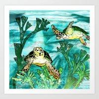 Myrtle Turtle. Art Print