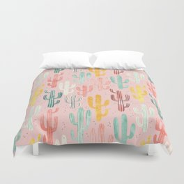 Long Multicolored Cacti Duvet Cover