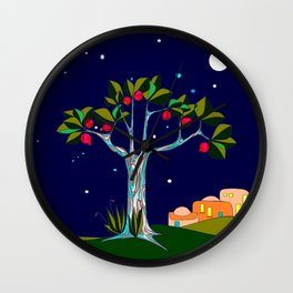 A Traditional Pomegranate Tree in Israel at Nigh Wall Clock