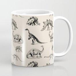Museum Animals   Dinosaur Skeletons on Cream Coffee Mug
