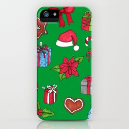 Christmas pattern (#1 green) iPhone Case