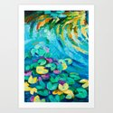 Original oil painting of beautiful water lily(Nymphaeaceae) on canvas.Modern Impressionism by boyandimitrov
