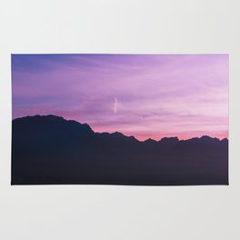 Winter Sunset with Mountains - Landscape Photography Rug