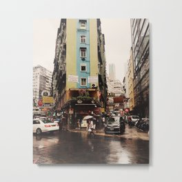 Hong Kong in the Rain Metal Print