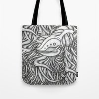 evolution Tote Bags featuring Evolution  by OKAINA IMAGE