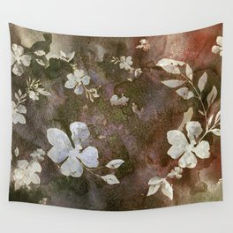 Carved White Blossoms on the Rocks Wall Tapestry