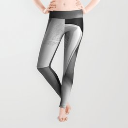 The Well-read Woman (reading in the bathtub) black and white photography Leggings